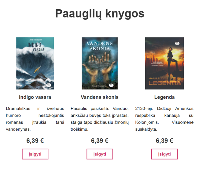 paaugliu knygos